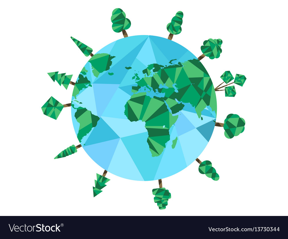 Earth day low poly planet and polygonal trees vector image