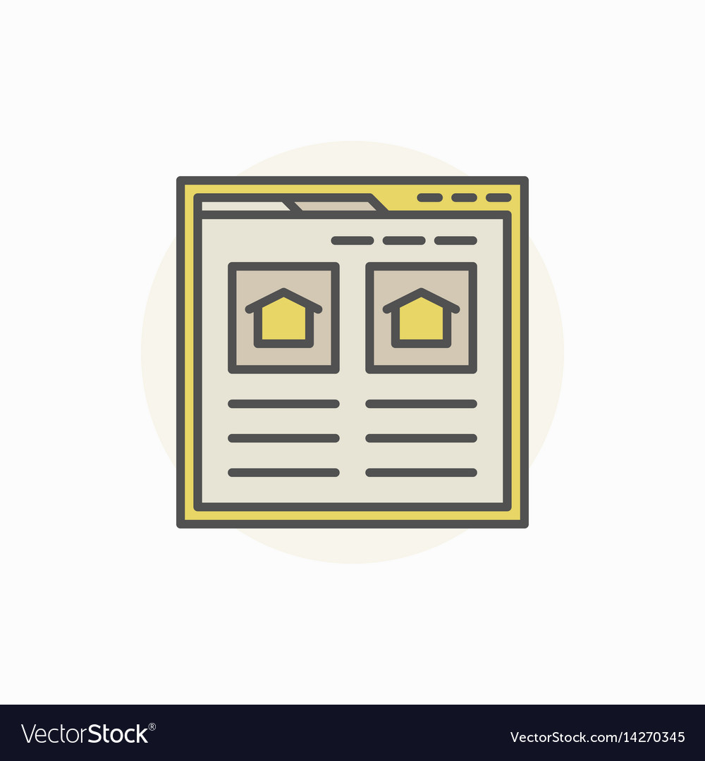Searching house via internet icon vector image