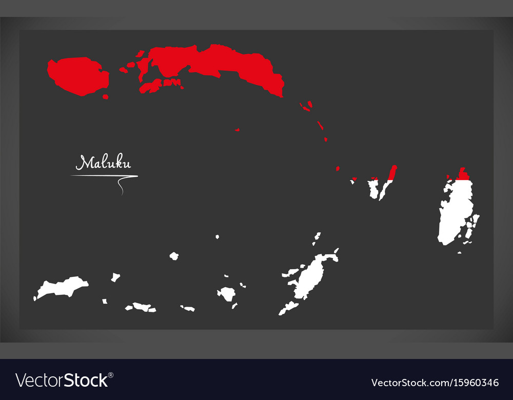 Maluku indonesia map with indonesian national flag vector image