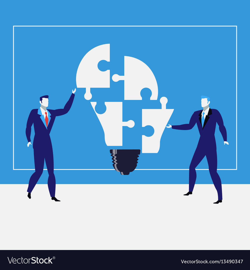 Businessmen creating ideas vector image