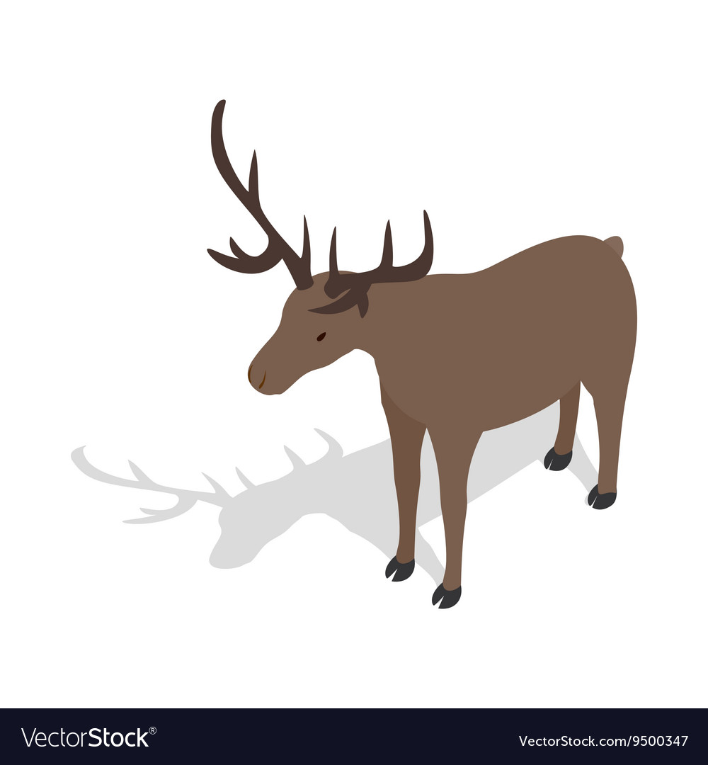 Deer icon in isometric 3d style vector image