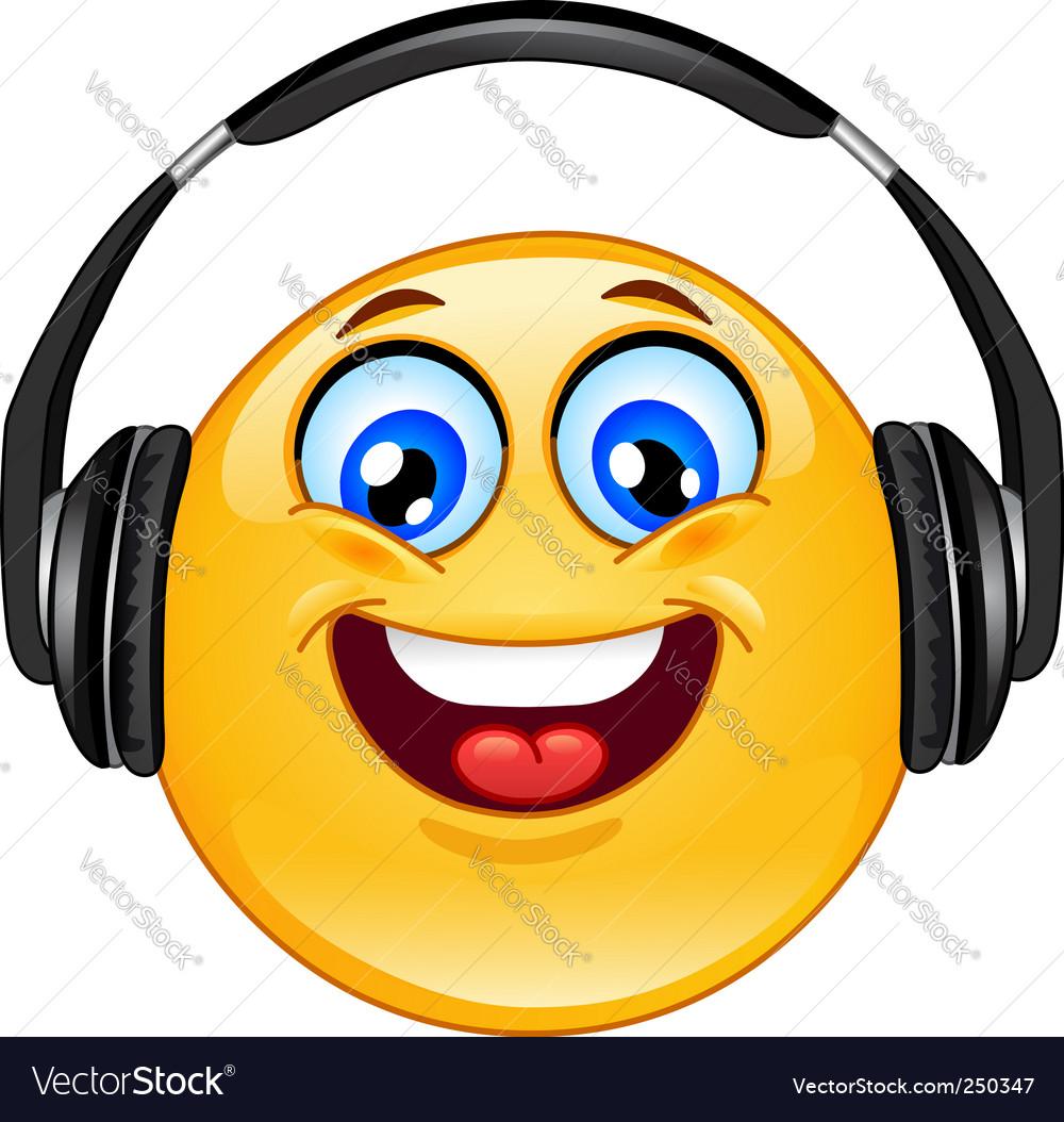 Headphones emoticon vector image