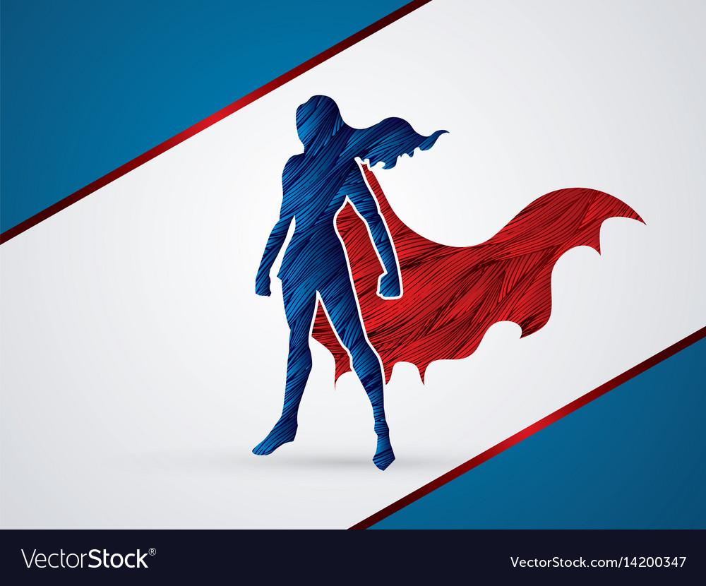 Super hero woman standing graphic vector image