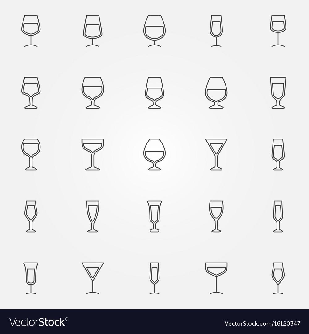 Wine glass icons set vector image