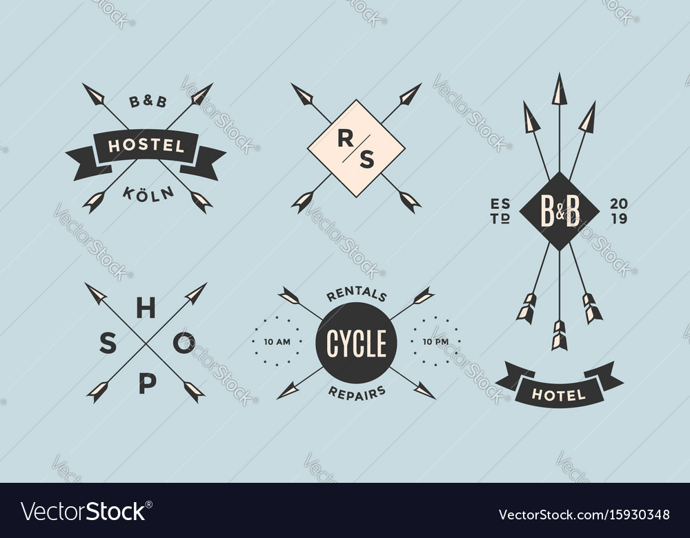 Set of emblem label and design elements vector image