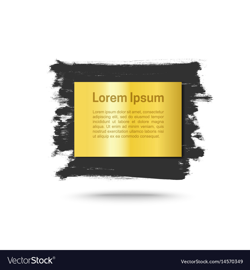 Grunge background with golden plate vector image