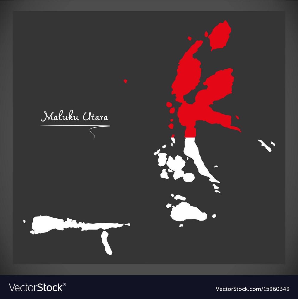 Maluku utara indonesia map with indonesian vector image