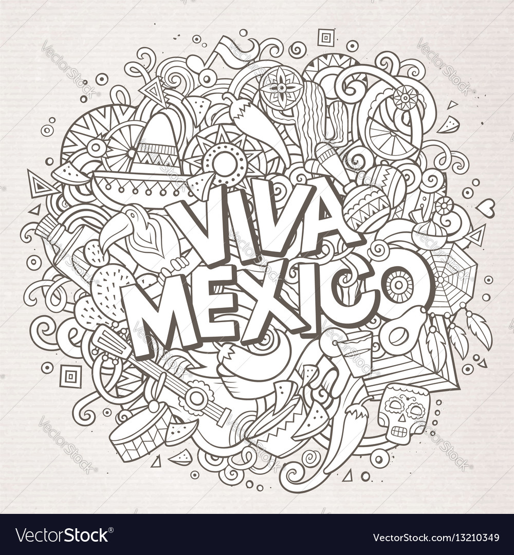 viva mexico sketchy outline festive background vector image