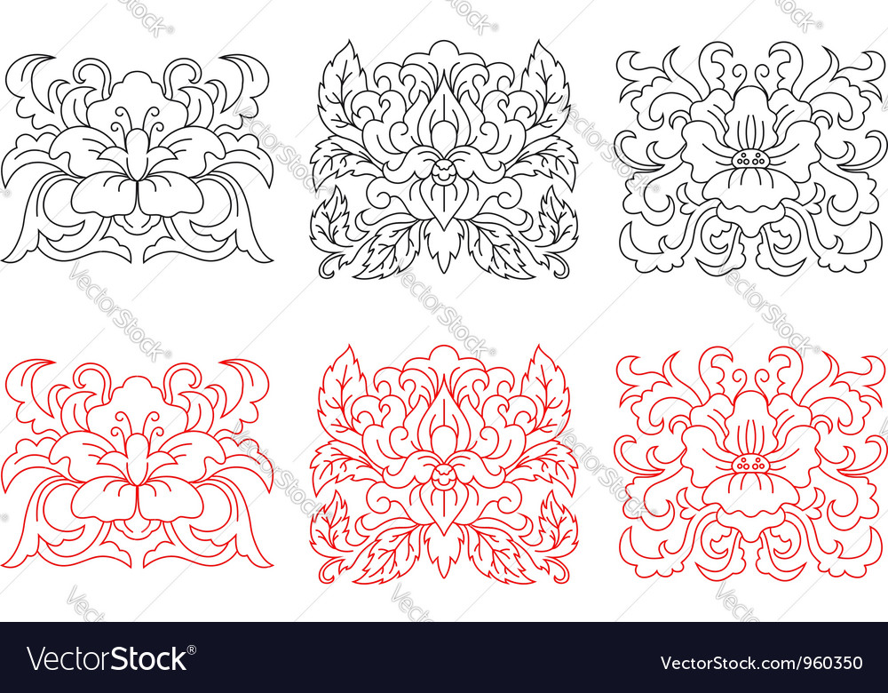 Retro flowers embellishments vector image