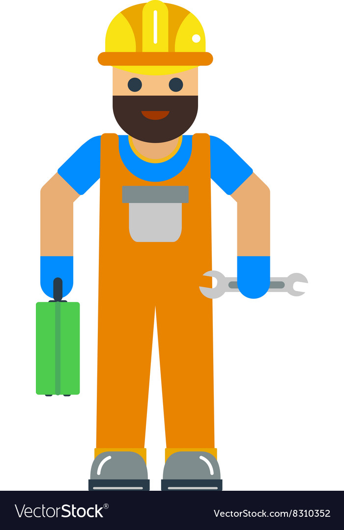 Cartoon worker character vector image