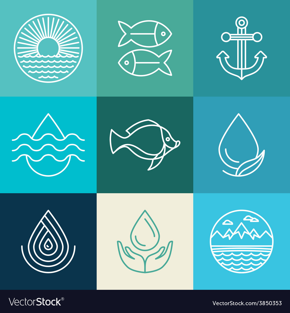 Water line icons and logos vector image
