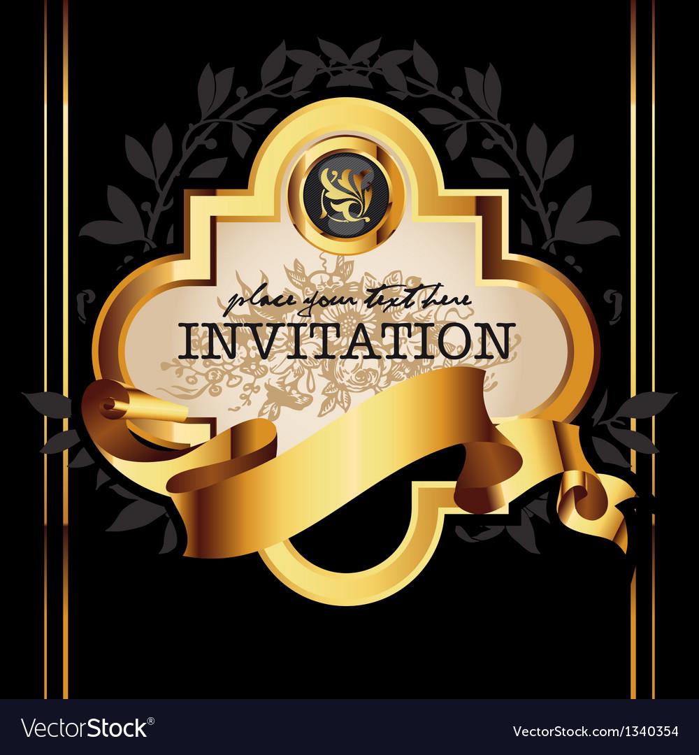 Golden royal lable on black background vector image