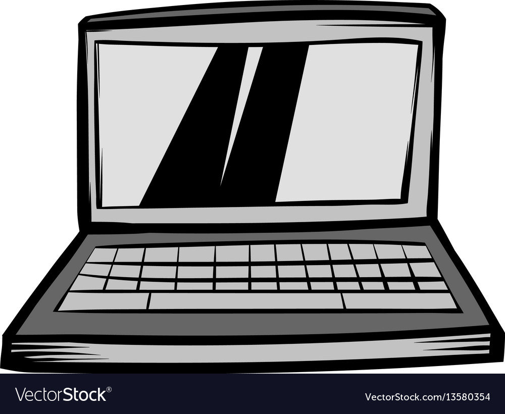 Modern laptop screen display icon cartoon vector image