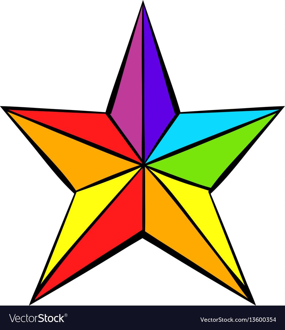 Rainbow star icon icon cartoon vector image