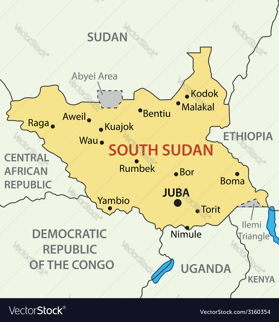 Republic Of South Sudan Map Royalty Free Vector Image - Republic of the sudan map