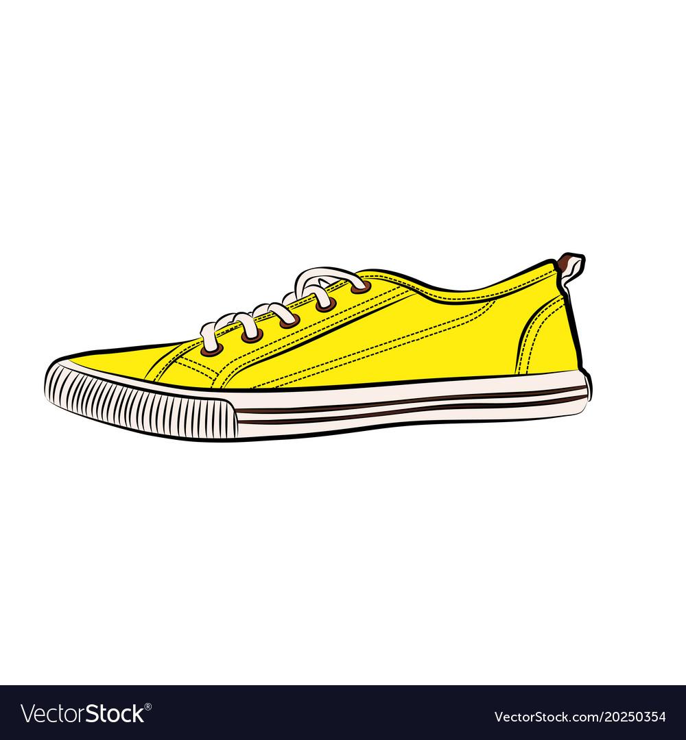 yellow sneakers icon flat of sneaker royalty free vector rh vectorstock com sneaker vectoriel sneaker vector free download