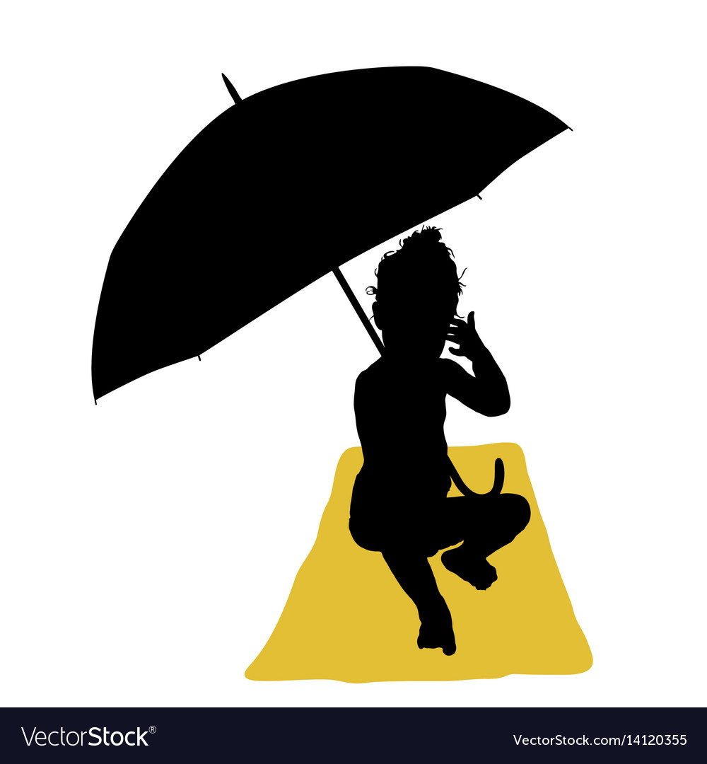 Child with umbrella and towel silhouette vector image