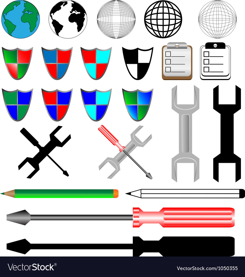 Color and black icons vector image