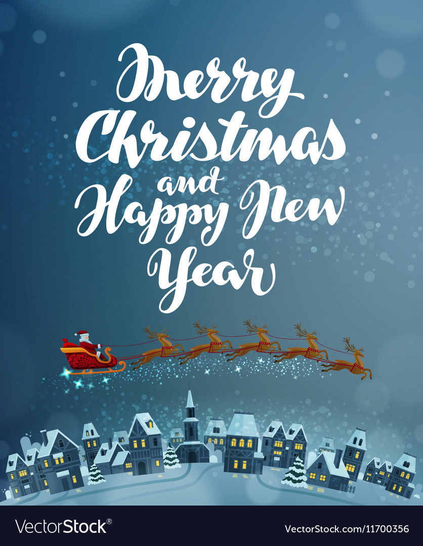 Christmas Flying Santa on sleigh pulled by vector image