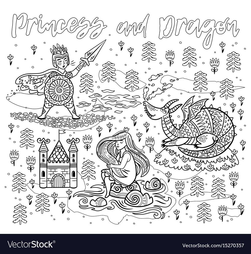 Princess and dragon art in outline magic fantasy vector image