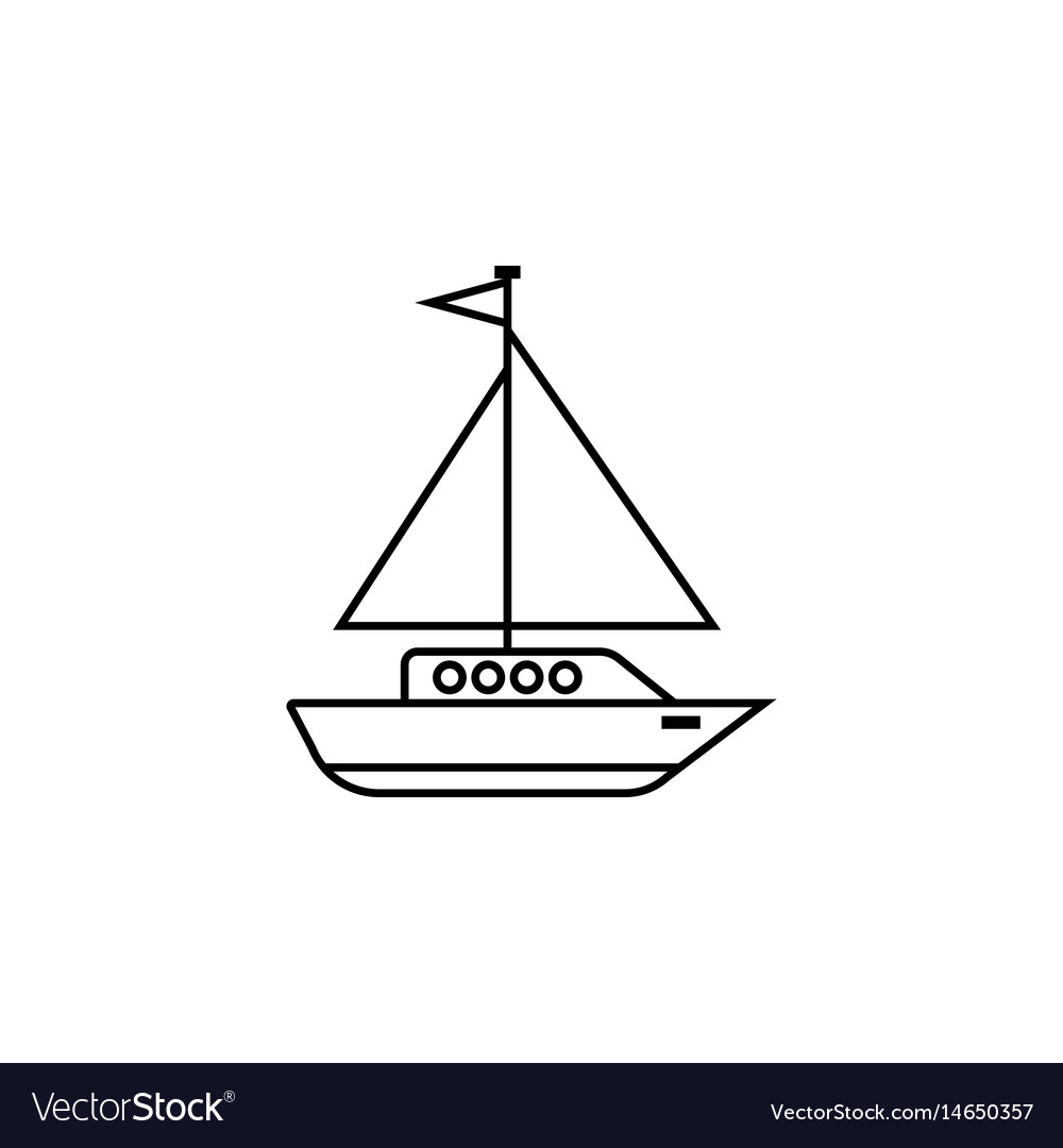 Sailing yacht line icon travel tourism vector image