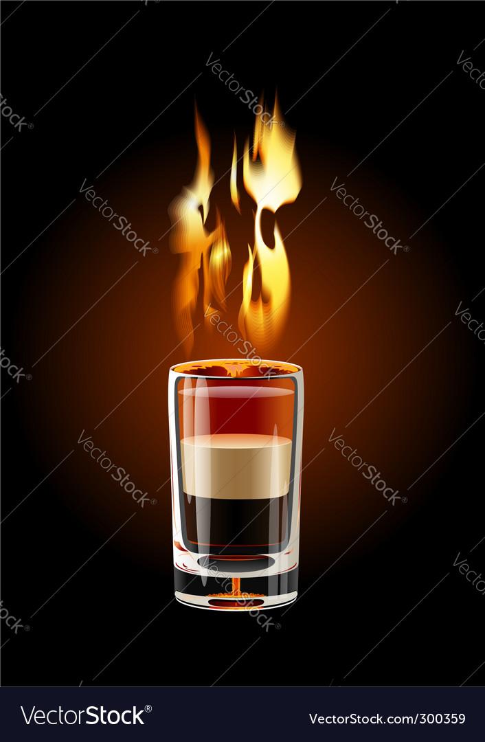 Flaming shot cocktail vector image