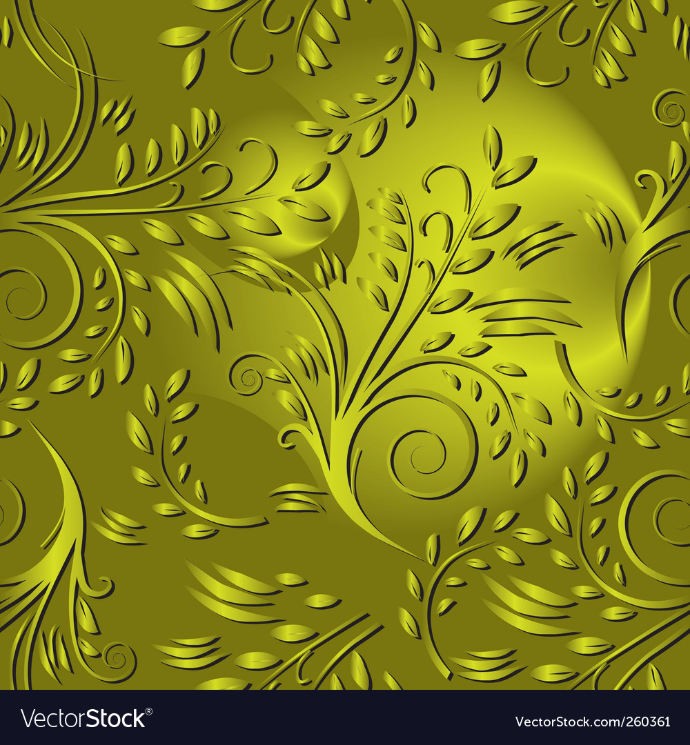 Seamless background with gold leaves vector image