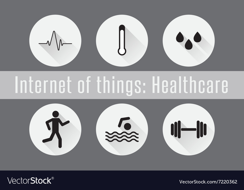 Internet of Things IoT- Healthcare Set of 6 flat vector image