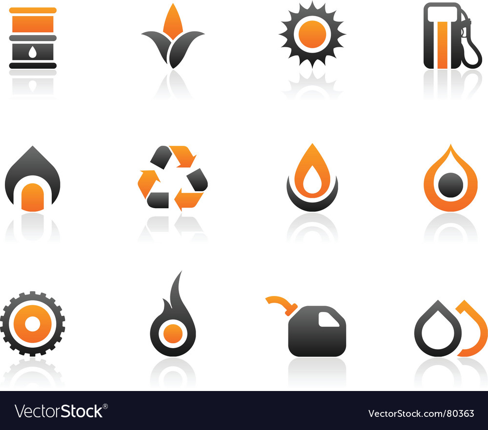 Fuel icons and graphics vector image
