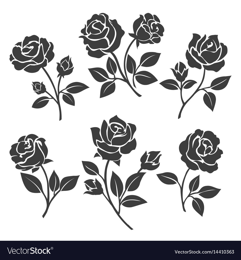 Rose silhouettes decorative set vector image