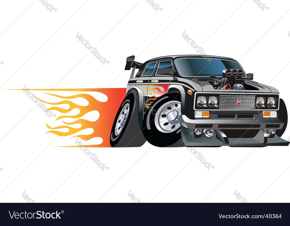 Cartoon hotrod car vector image