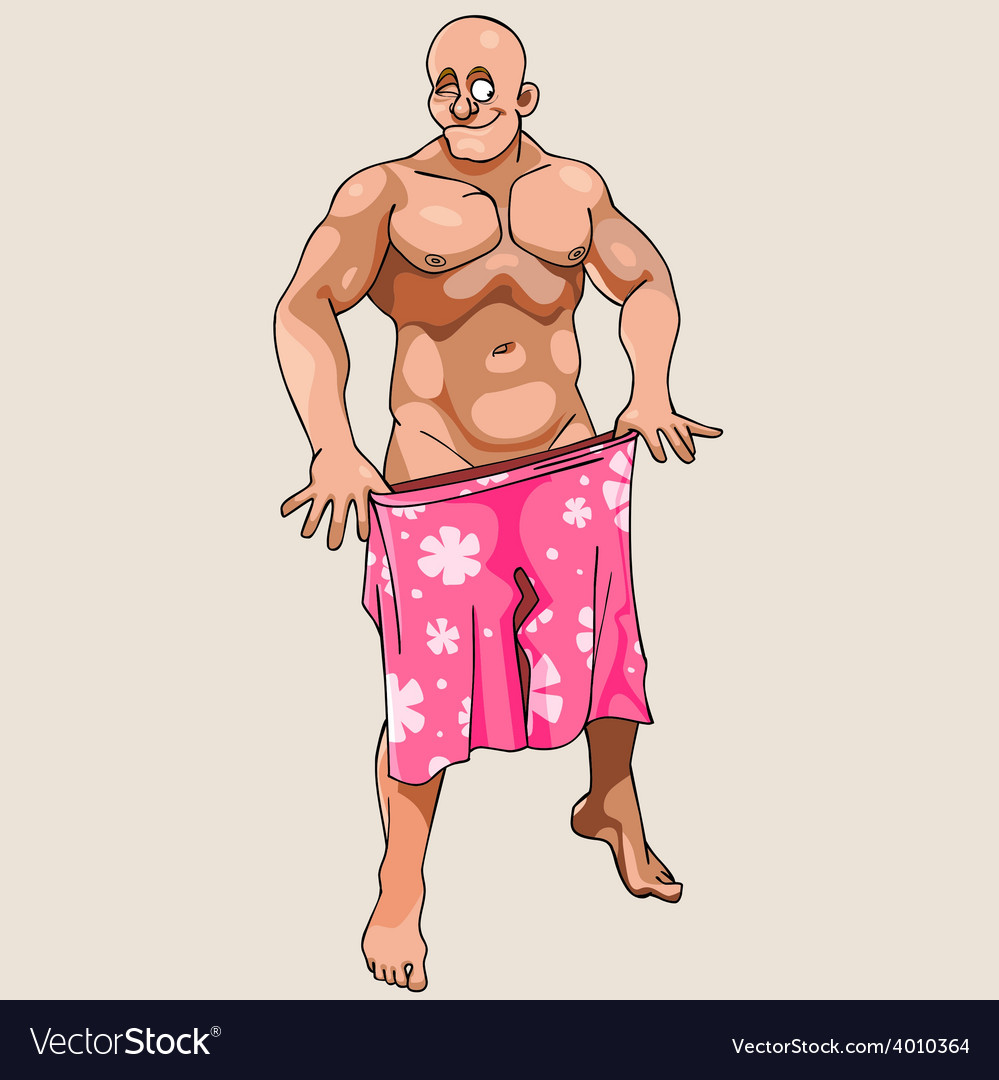 Cartoon naked man winks and covered shorts vector image