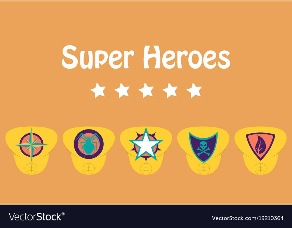 Set of superhero color flat badges emblems logos vector image