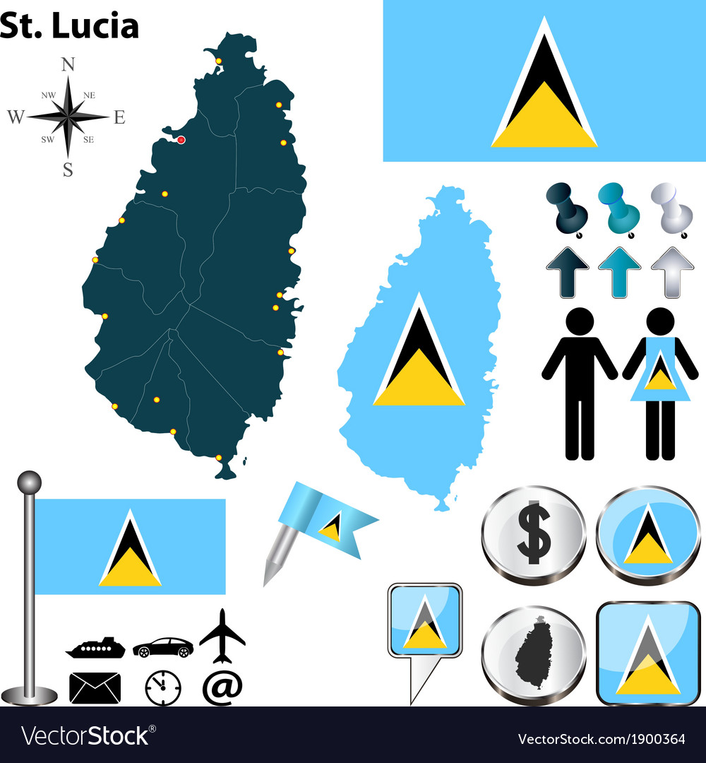 St Lucia map Royalty Free Vector Image VectorStock