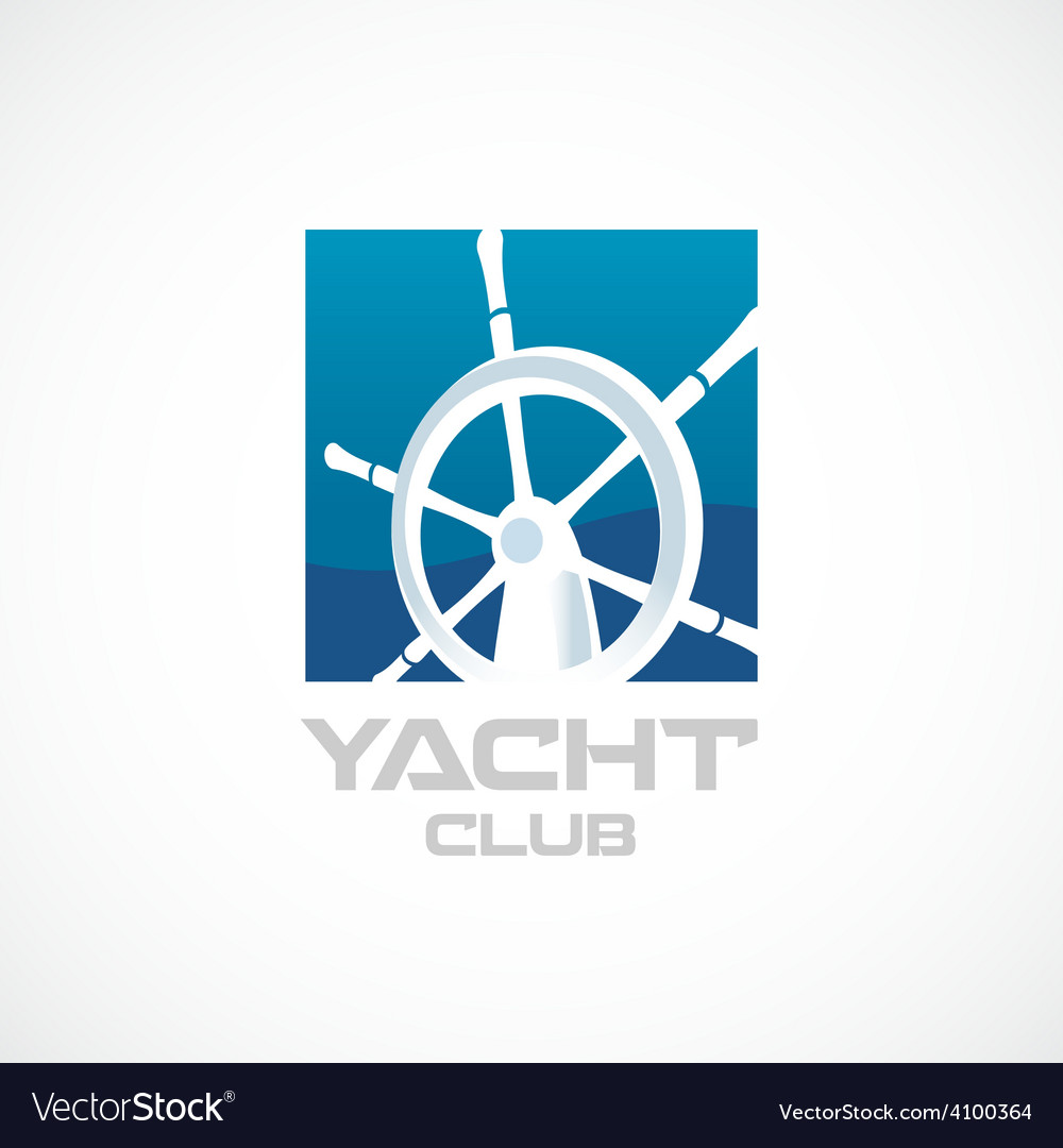 Yacht club logo template Helm sign vector image