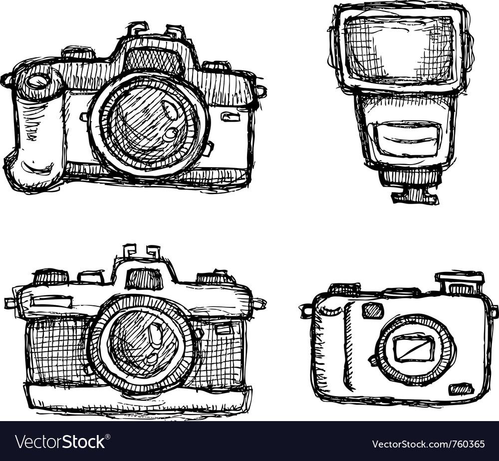 Scribble series - cameras vector image