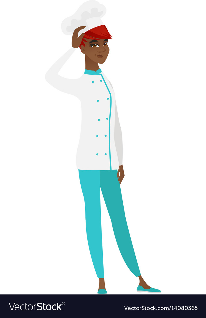 African-american chef cook scratching her head vector image
