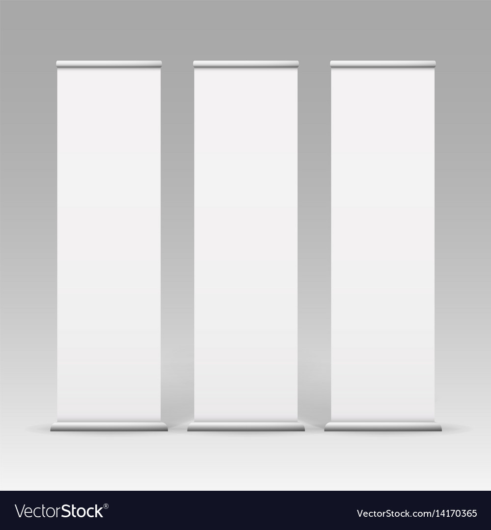 White roll up business banner for advertising vector image