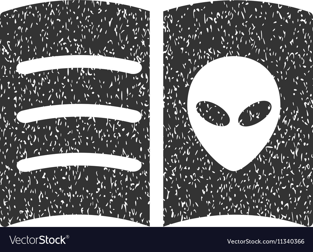 Alien Face Book Grainy Texture Icon vector image