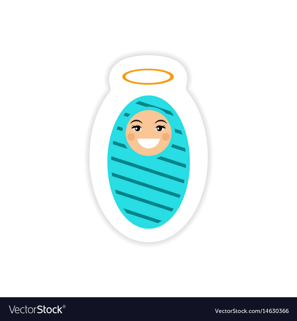 Paper sticker on white background baby jesus