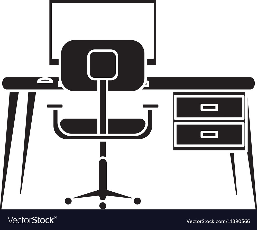 Silhouette Workplace Modern Pc Armchair Desk Vector Image