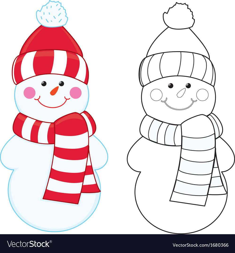 Snowman Coloring Book Vector Image