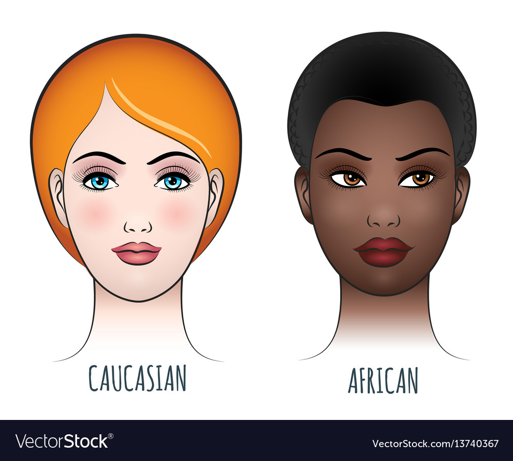 African and caucasian female faces vector image