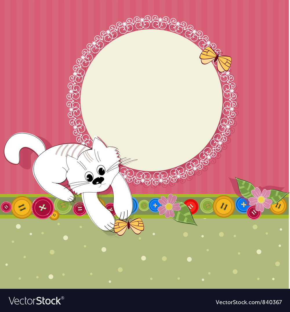 Ornament retro kitten vector image