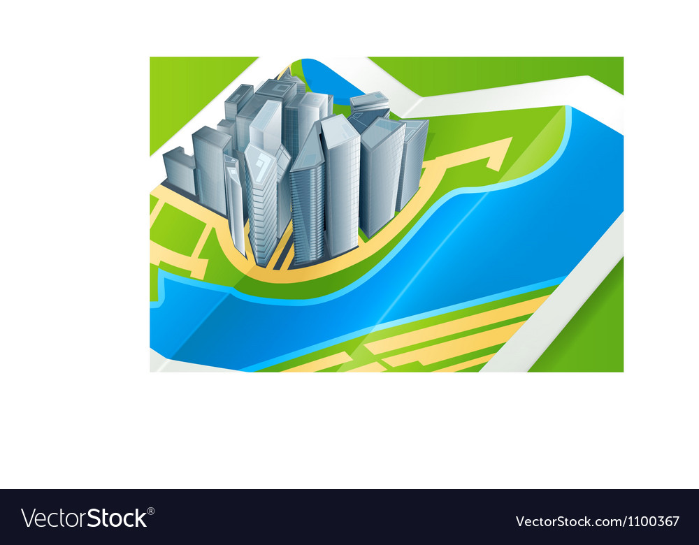 Town on the map vector image