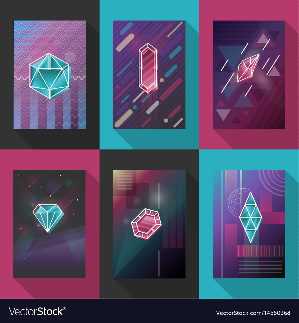 Posters and pattern backgrounds set with vector image