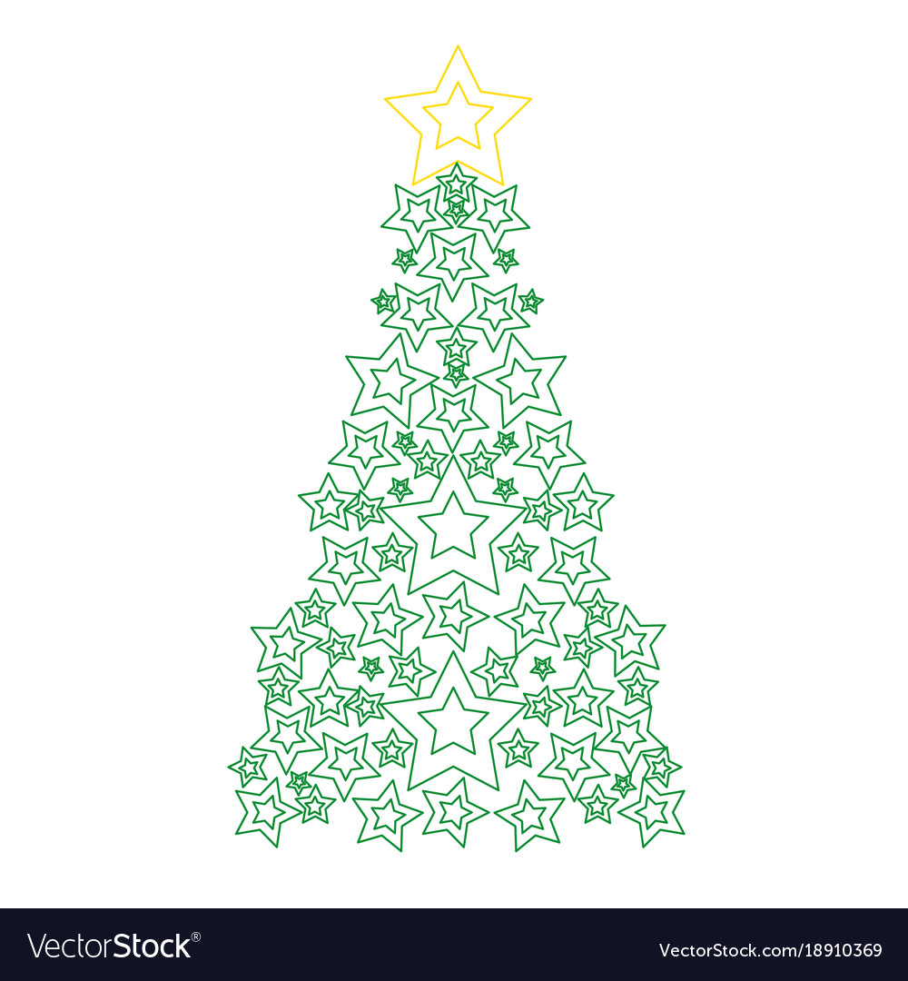 Color line pine tree with stars decoration to Vector Image