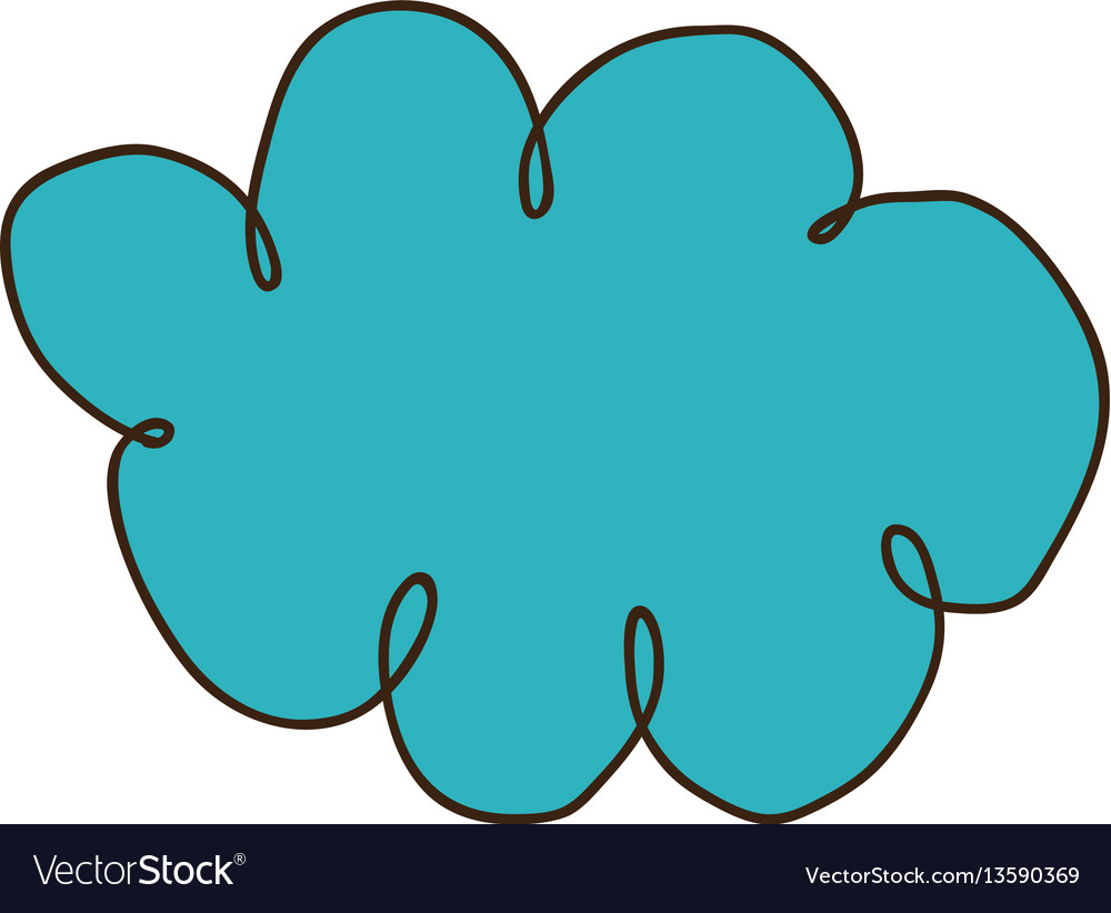 Color silhouette of hand drawn cloud vector image