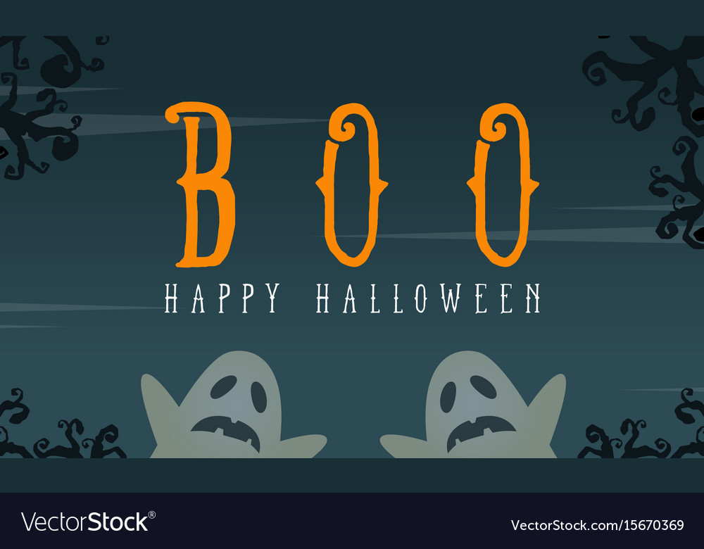 Halloween with ghost greeting card vector image