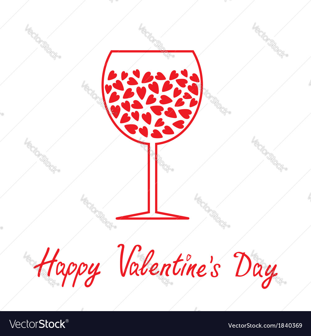 wine glass with hearts happy valentines day card vector image - Valentine Wine Glasses